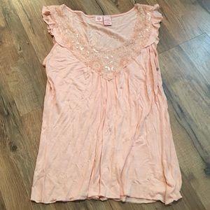 Peachy Pink Detailed Sleeveless Top