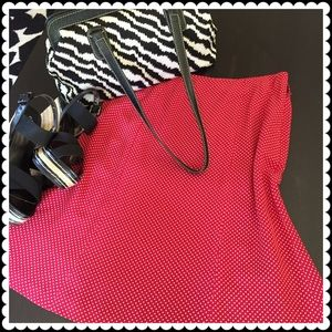Talbots Dresses & Skirts - Talbots silk petite red/white polka dot skirt