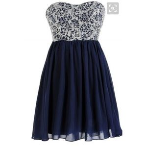 Blue and silver homecoming/ formal dress