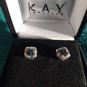 a4b5faa05 Kay Jewelers Jewelry - Kay Jewelers Blue Diamond Earrings Sterling Silver
