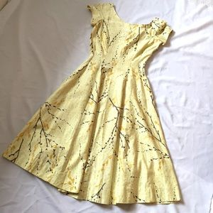 Vintage 1960's Yellow Floral Day Dress S
