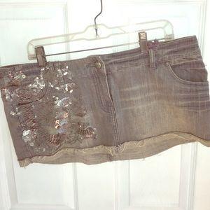Denim grey sequined skirt NWT