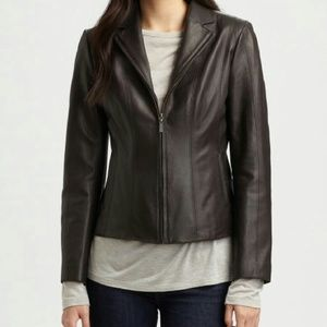 Cole Haan Notch Collar Lamb Skin Leather Jacket