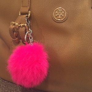 Pink Genuine Rabbit Fur Ball Keychain