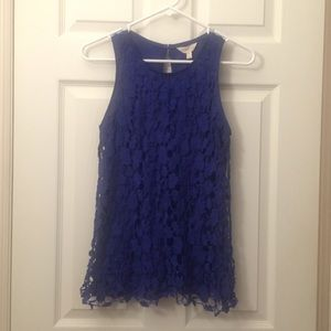 Royal blue crochet layered top size small.