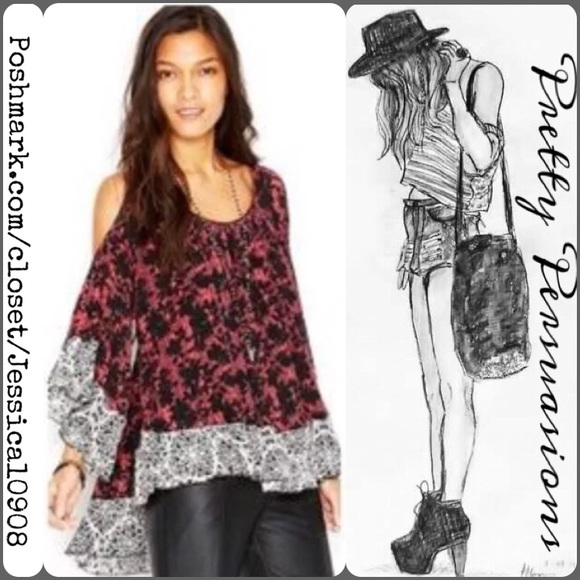 ebf7405bb6a48a NWT Free People Cold Shoulder Printed Top