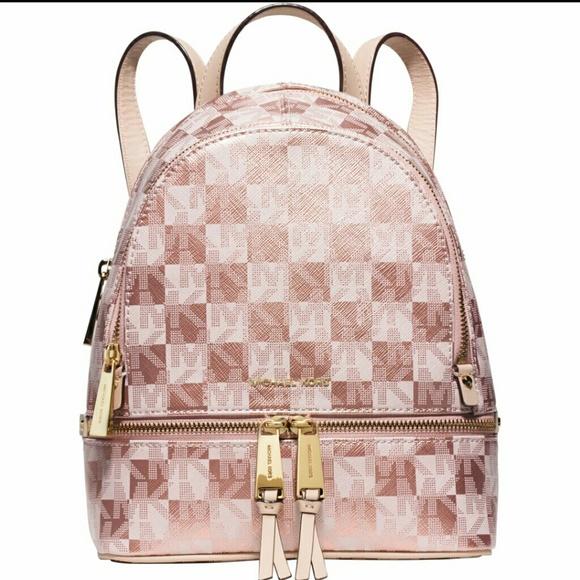 7f5f2b893cbe9 NWT Michael Kors  Rhea Zip  Rose Gold Backpack