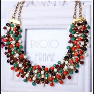  COLORFUL BIB COLLAR STATEMENT NECKLACE