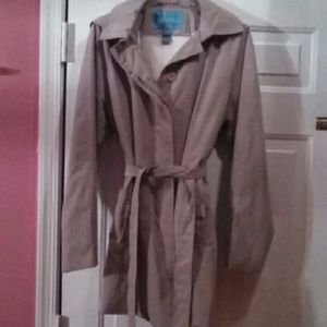Hooded khaki trench coat