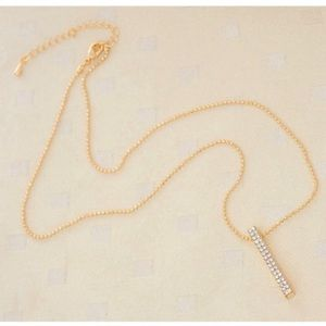 Crystal Gold Bar Necklace