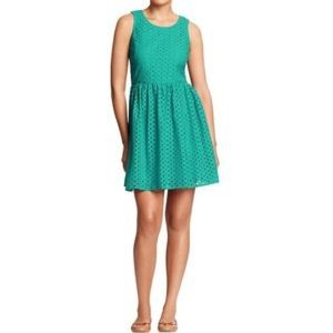 Old Navy Teal Eyelet Dress