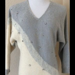 Boutique Sweaters - Silver and white angora sweater vintage designer
