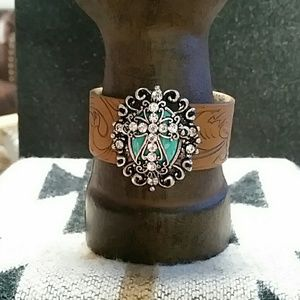 Jewelry - Brown Tooled Leather Cross Bracelet