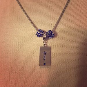 80%20 Jewelry - Silver necklace with blue jewels