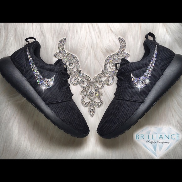 a6740ef0ba81 Swarovski Nike Roshe One All Black Running Shoes Boutique