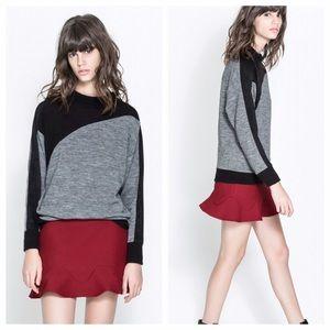  HP  ZARA ruffle hem textured mini skirt