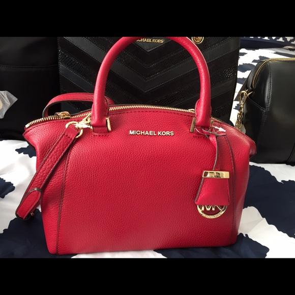 5158b0af141a4 Michael Kors Riley Messenger Crossbody Shoulder Bag Authentic MK Riley Small  Satchel Leather ...