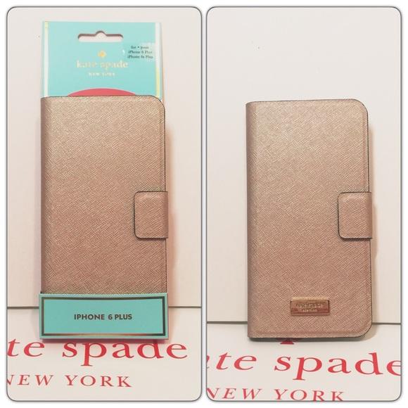 sale retailer 8e868 f094e New Kate Spade iPhone 6 plus folio case rose gold NWT