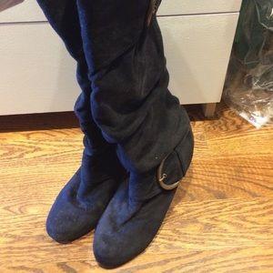 Wedge Heel Black Suede Boots