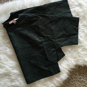 Tops - Hunter green faux suede crop top