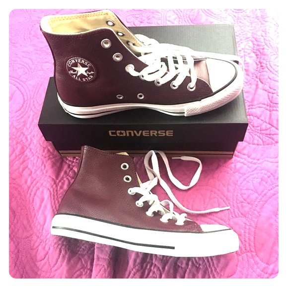 3ffca3660aa5 Converse Shoes - Leather Burgundy High Top Converse