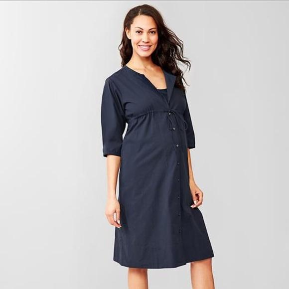 da6a6983873 Navy button-up drawstring Gap maternity dress