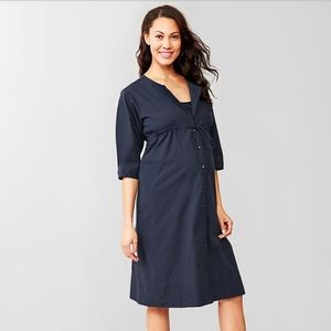 Navy button-up drawstring Gap maternity dress