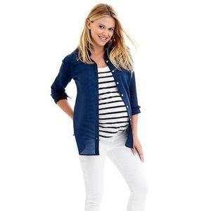 "Gap maternity navy ""Ramie"" button down shirt"