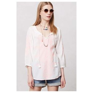 🚫Sold🚫Anthropologie Neon-Stitched Peasant Blouse
