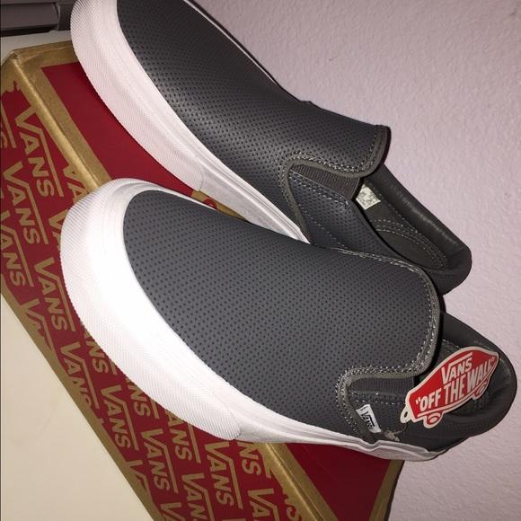 vans leather slip on grey