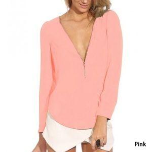 Pink V-Neck Zipper Blouse