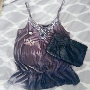Festive sequined gray camisole