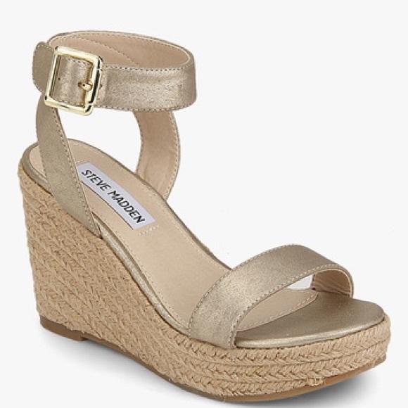 Steve Madden Gold Seaside Wedge Sandals
