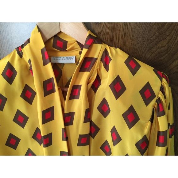 Yellow Bow Tie Blouse 54