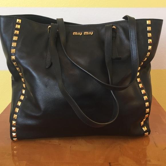 Miu Miu Black Studded Clutch