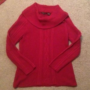 Large maroon Cowl Turtleneck Cableknit Sweater