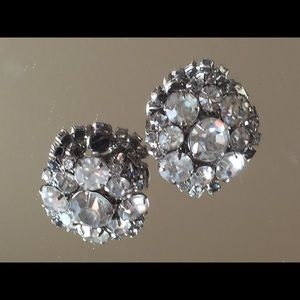 Jewelry - Large Vintage Rhinestone Earrings c. 1950s
