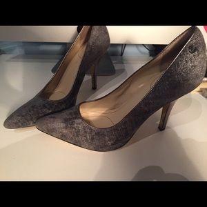 Calvin Klein silver blue velvet heels size 7