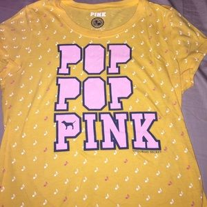 L VS PINK Yellow Music Tee