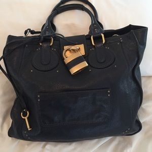 Chloe Paddington tote in navy.