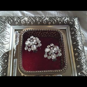 Jewelry - Large Vintage Rhinestone Clip Earrings c. 1950s
