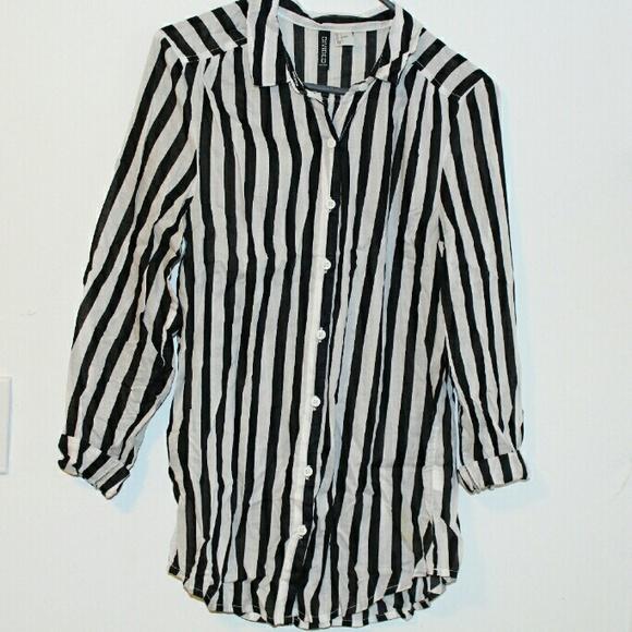 ecdaf68a64 H&M Tops   Black And White Vertical Striped Shirt   Poshmark