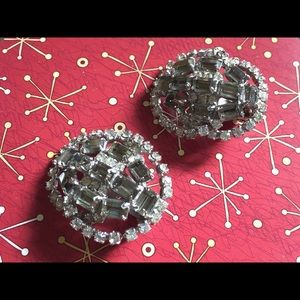 Jewelry - Vintage 1950s Rhinestone Clip Earrings