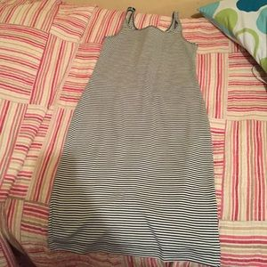 Navy and white striped body con dress. No tags.