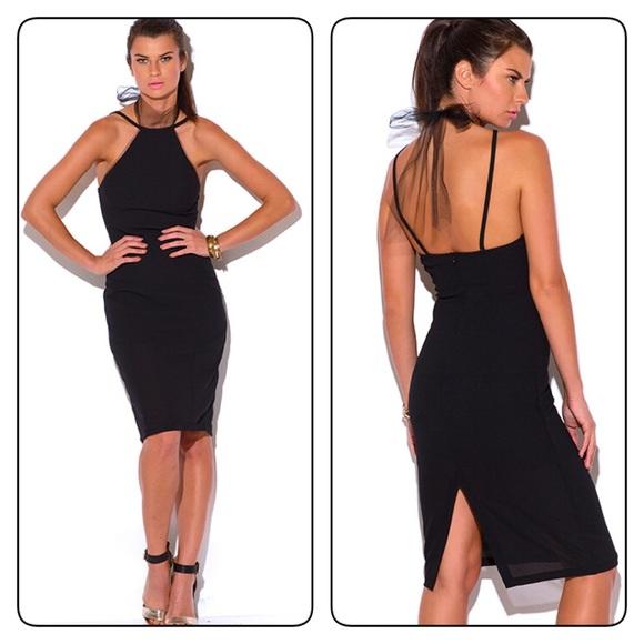 42d10a737d49 Dresses | Black Mesh Choker Pencil Midi Dress | Poshmark