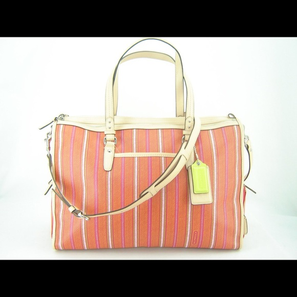5ef12abec074 Coach Ticking Stripe Double Zip Tote/Diaper Bag
