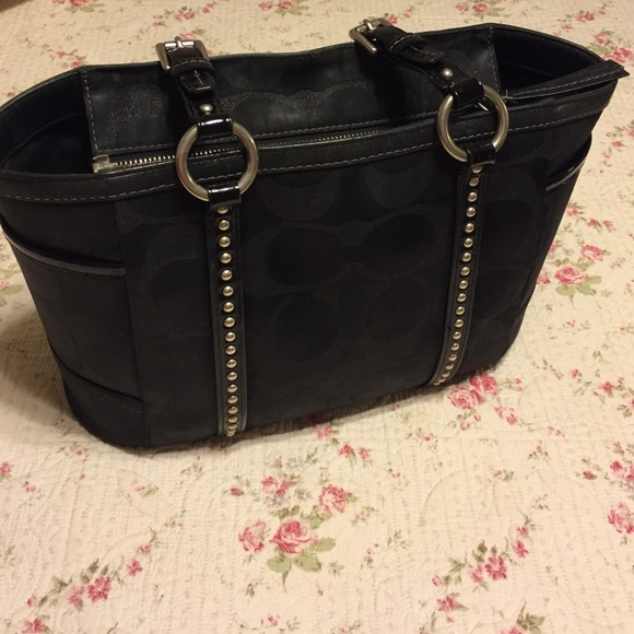 e427d543de33 Black Coach Purse With Silver Studs - basement wall studs