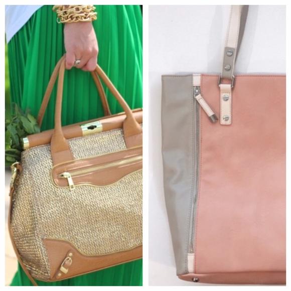 2b1954fdf7e8 BUNDLE  2 handbags Woven Gold Satchel + Pink Tote.  M 5696f44ffbf6f9f57f00185c