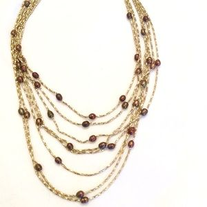 Opera gold tone freshwater pearls necklace new
