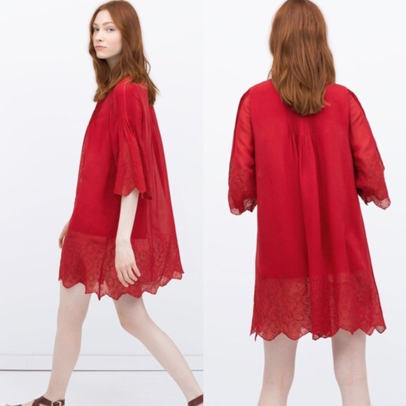 50% off Zara Dresses &amp- Skirts - Zara Red Hippie Embroidered Box ...